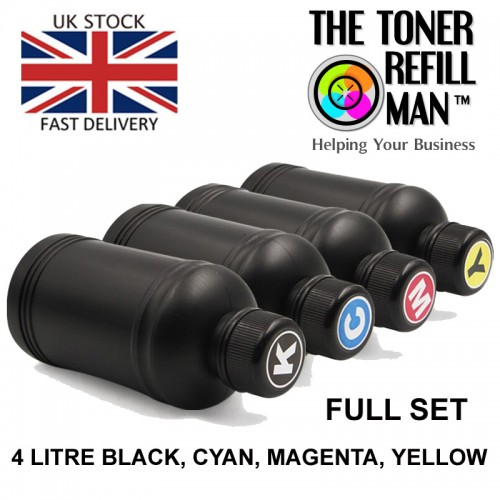 Compatible SET Epson ink dye based BK,C,M,Y for use in epson inkjet printers 4 litre bulk refill ink