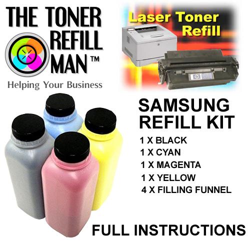 Toner Refill Kit For Use In The Samsung CLT-407, CLT-4072 BK,C,M,Y Laser Printer Cartridge
