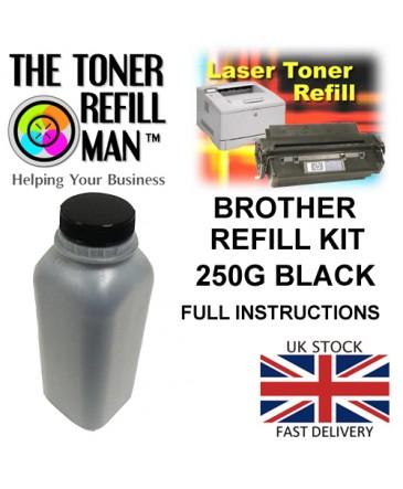 Toner Refill Kit For Use In Brother Printer Cartridges  Black Mono Toner 250gm