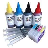 For Use In Epson 603xl, Ink Cartridge Refill Kit, Refillable Auto Reset Chip ink cartridges Plus 4 x 100ml Ink