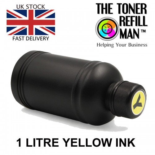 Compatible Yellow Canon ink dye based for use in canon inkjet printers 1 litre bulk refill ink