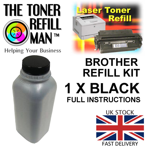 Toner Refill Kit For Use In Brother Printer Cartridges  Black Mono Toner 250gm