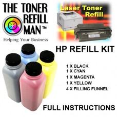 Toner Refill Kit for the HP 410A, 410X Cartridges (CF410X/CF411X/CF412X/CF413X)