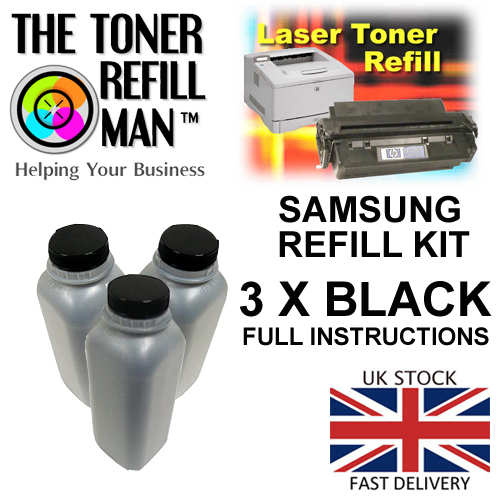 Toner Refill Kit For Use In The Samsung ML-2010 Laser Printer Cartridge ML-2010D3 3 X Bottles