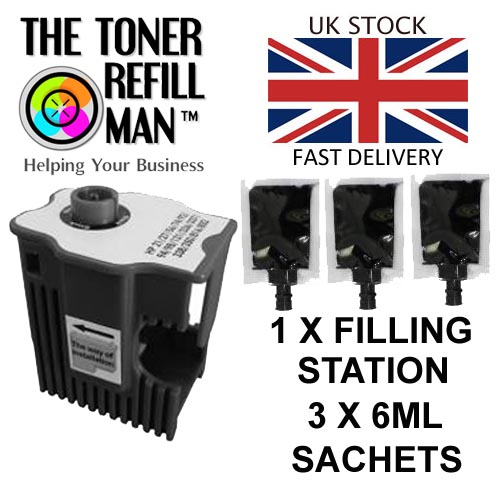 Ink Cartridge Refill Station And 3 Sachets Of Printer Ink, Easy Refill System For HP Black Cartridges