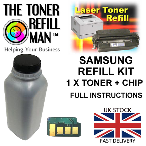 Toner Refill Kit For Use In The Samsung MLT-D105S/L Laser Printer Cartridge ML-1910 1 X Bottle 1 X Chip